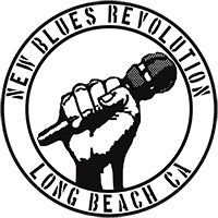 New Blues Revolution round logo - fist holding a microphone