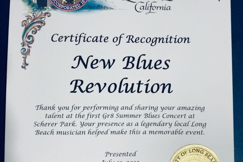 A certificate of recognition from the City of Long Beach